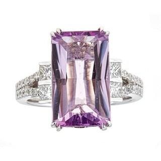 Anika and August 14k White Gold Purple Kunzite and Diamond Ring