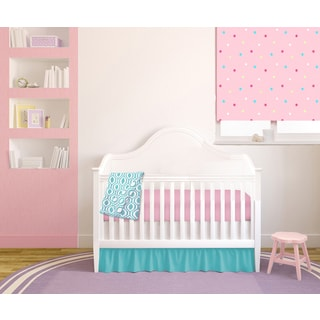 American Baby Company Pink/Teal Cotton Chevron 4-piece Baby Crib Bedding Set