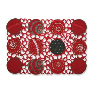 Pillow Perfect Ornaments Red-Green Placemat (Set of 2)