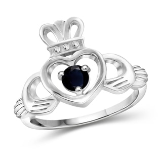 Jewelonfire 0.35-CTW Sapphire Heart Sterling Silver Crown Ring