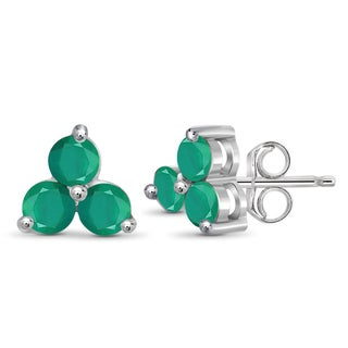 Jewelonfire Sterling Silver and Emerald Three-stone Earrings