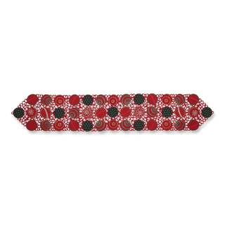 Pillow Perfect Ornaments Red-Green 68-inch Table Runner