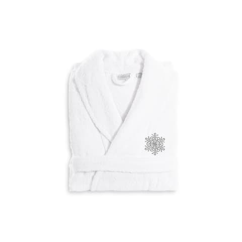 Authentic Hotel and Spa Silver Snowflake Terry Cloth Turkish Cotton Bath Robe