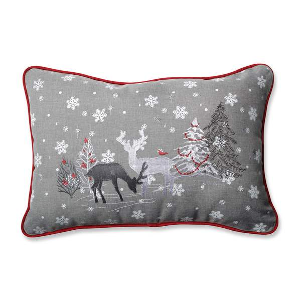 Christmas Pillows.Pillow Perfect White Christmas Grey Rectangular Throw Pillow