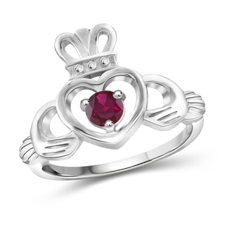 Jewelonfire Sterling Silver 0.35 CTW Ruby Gemstone Heart Crown Ring