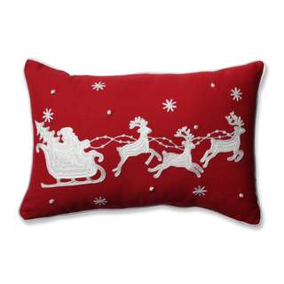 Pillow Perfect Santa Sleigh & Reindeers Red Rectangular Throw Pillow