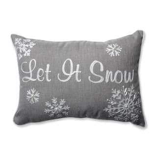 Pillow Perfect Let It Snow Grey Rectangular Throw Pillow