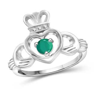 Jewelonfire Sterling Silver 0.25-ctw Emerald Gemstone Heart Crown Ring