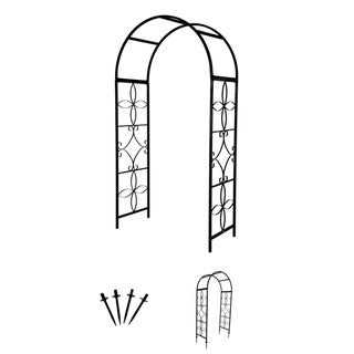 Trademark Innovations Metal 6.75-foot High Decorative Garden Arch with Stabilizing Anchor Stakes