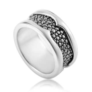 Stephen Webster Thorn Men's Sterling Silver Rayskin-textured Band Ring