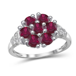 Jewelonfire Sterling Silver Ruby Gemstone and accent White Diamond Flower Ring