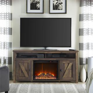 Ameriwood Home Farmington Heritage Pine 60-inch Media Fireplace