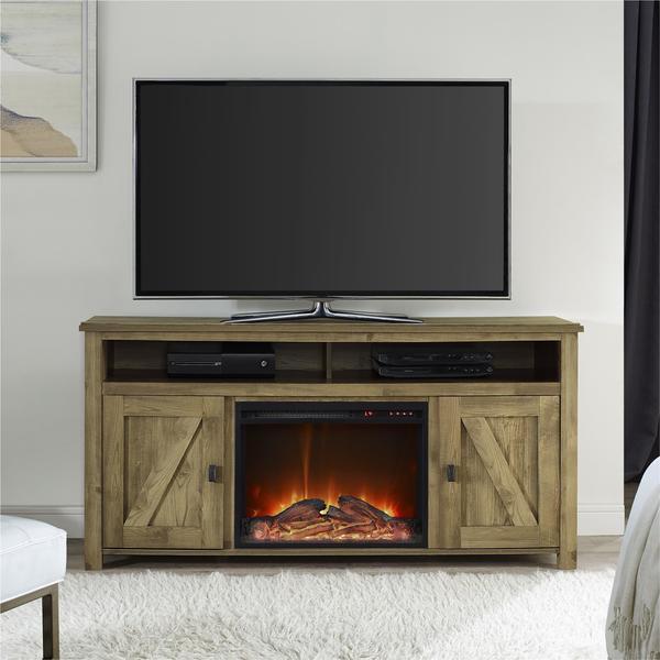 Ameriwood Home Farmington Heritage Light Pine 60-inch Media Fireplace. Opens flyout.