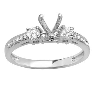 14K White Gold 1/3ct TDW Round Diamond Semi-Mount Engagement Ring (No Center Stone) (H-I,I1-I2)