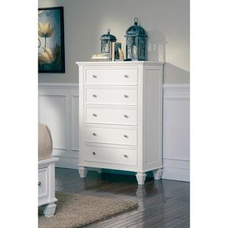 Sandy Beach White Wood 5-drawer Chest