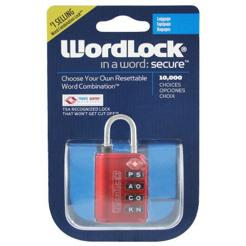 Wordlock LL-206-RD TSA Approved Combination Luggage Lock  4 Dial, Red