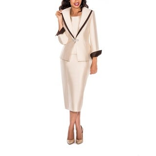 Ella Belle Women's Contast Layered Collar 3-piece Skirt Suit