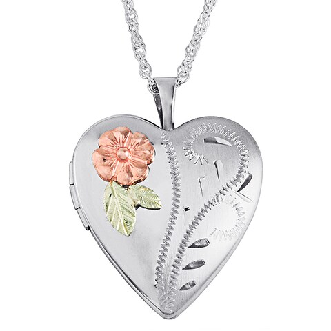Genuine Black Hills 12k Gold-overlay Sterling Silver Flower Heart Locket