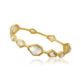 Riccova City Lights Satin 14k Gold Plated Over Brass Faceted Clear Stones Bangle