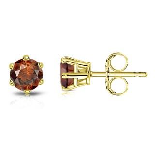 Auriya 14k Gold 1/2ct TDW 6-Prong Push-Back Round-Cut Brown Diamond Stud Earrings (Brown, SI1-SI2)