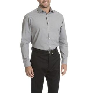 Perry Ellis Men's Grey Cotton/Polyester Slim-fit Wrinkle-free Dress Shirt