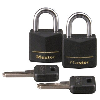 "Master Lock 121T 3/4"" Black Vinyl Cover Brass Padlock 2-count"