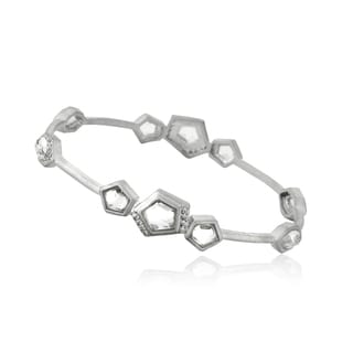 Riccova Radiance Bijou City Lights Rhodium Plated Brass Cubic Zirconia Accented Faceted Clear Stones Bangle