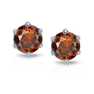 Auriya 14k Gold 1 1/2ct TDW 6-Prong Push-Back Round-Cut Brown Diamond Stud Earrings (Brown, SI1-SI2)