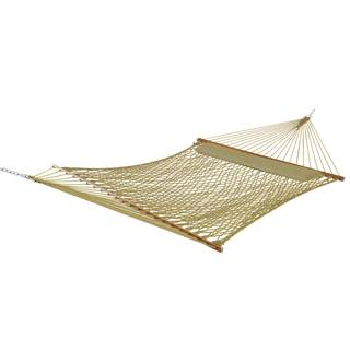 Castaway Deluxe Tan Polyester Rope Hammock with Pillow