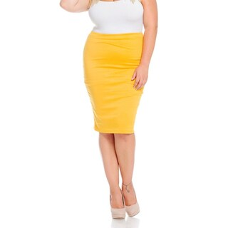 Women's Mustard Yellow Rayon/Spandex Plus-size Skirt