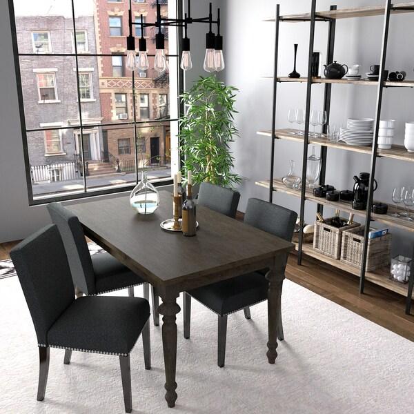 portfolio brisbane charcoal black linen upholstered dining