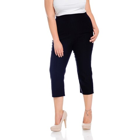 Women's Black Polyester/Spandex Plus-size Capri Pants