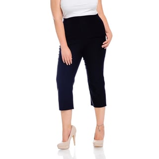 Women's Black Polyester/Spandex Plus-size Capri Pants