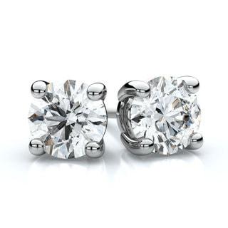 14k White Gold 4-prong 3/4ct TDW Round Diamond Stud Earrings (H-I, SI1-SI2)