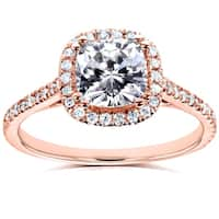 Annello by Kobelli 14k Rose Gold Cushion Moissanite (HI) and 1/4ct TDW Diamond Halo Engagement Ring