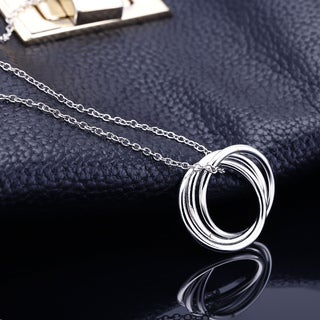Rhodium-plated Brass 3-ring Chain Necklace