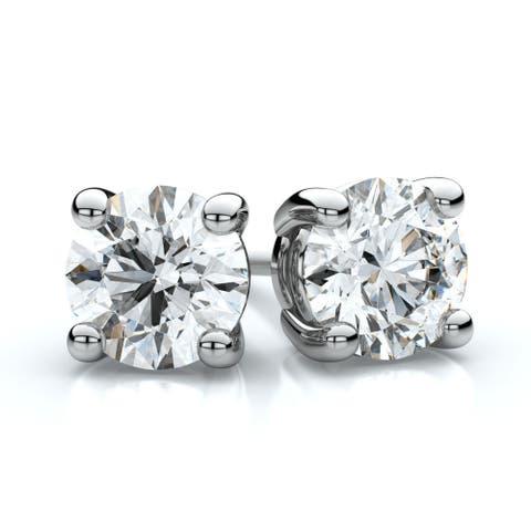 14k White Gold 4-prong 2ct TDW Round Diamond Stud Earrings