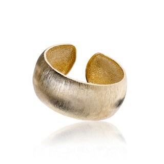 Country Chic 14k Goldtone Brass Striped Rhodium Wide-cuff Bangle