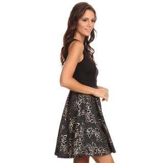 Women's Fit and Flare Grey Polyester/Spandex Floral Dress