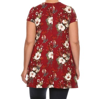 Women's Plus Size Blue/Red/Green/Black Rayon and Spandex Short-sleeve Floral Tunic