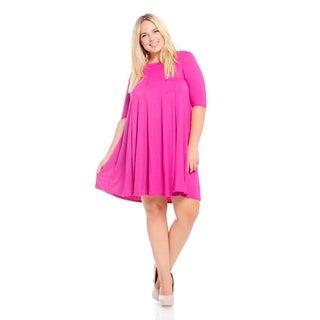 Women's Hot Pink Rayon/Spandex Plus-size Dress