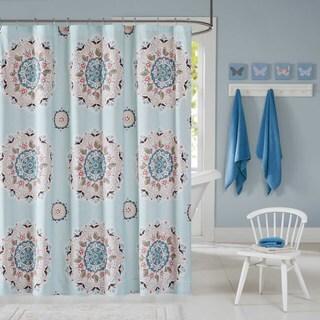inkivy kids hana blue shower curtain