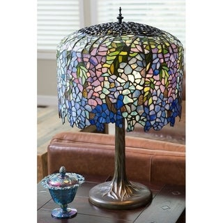 Gracewood Hollow Giuliani 30-inch Stained Glass Tiffany-inspired Grand Wisteria Table Lamp with Tree Trunk Base