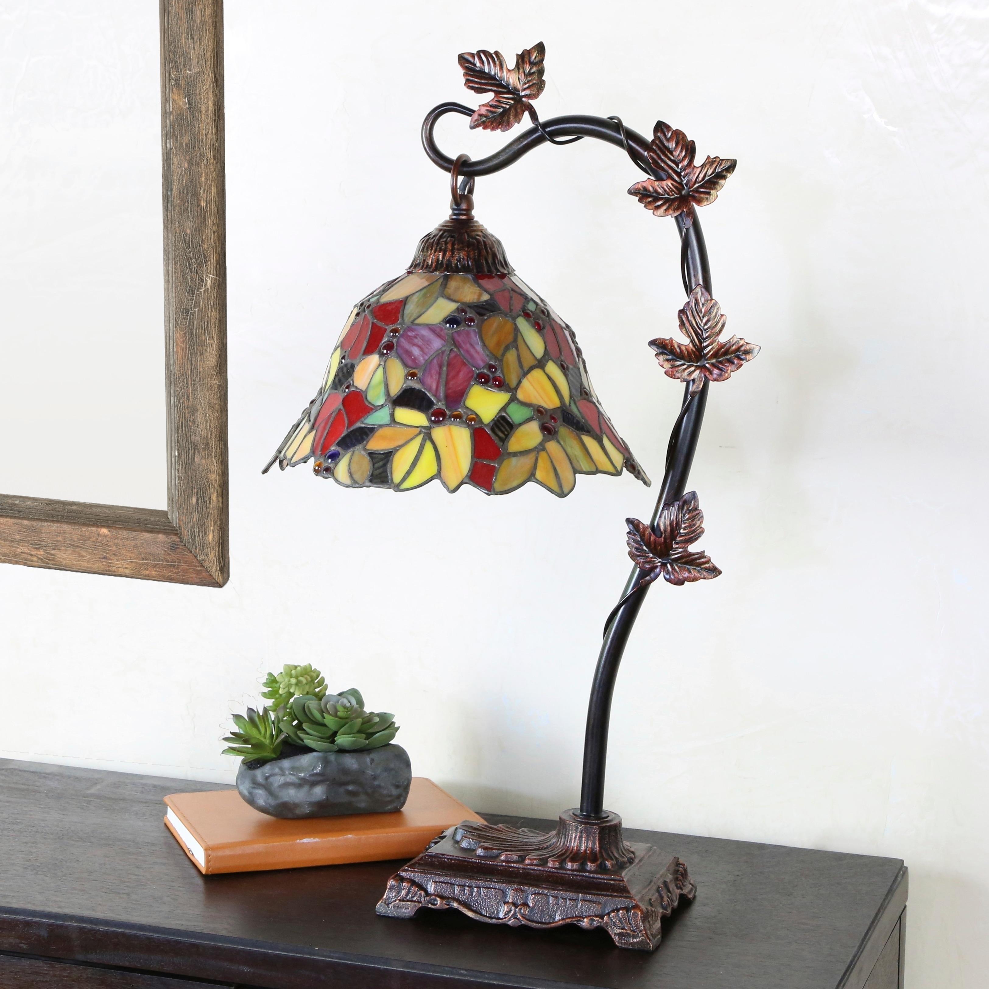 23 H Stained Gl Fl Leaf Desk Lamp