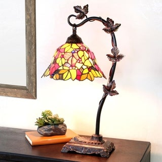 Stained Glass Red Floral Leaf 23-inch Desk Lamp