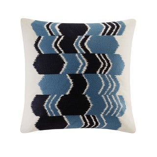 INK+IVYZamir Blue Cotton Embroidered Arrow Ikat Decorative Throw Pillow