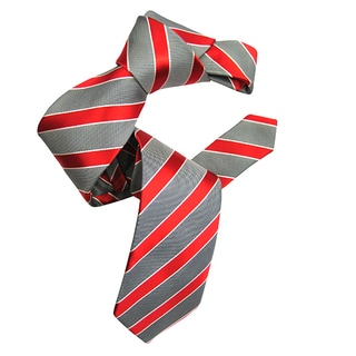 Dmitry Men's Grey/Red Italian Striped Silk Tie