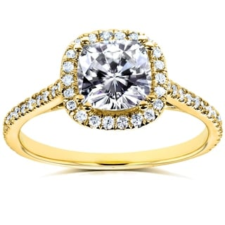 Annello by Kobelli 14k Yellow Gold Cushion Moissanite and 1/4ct TDW Diamond Halo Engagement Ring