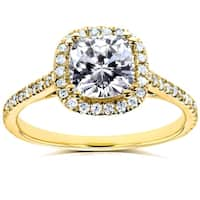 Annello by Kobelli 14k Yellow Gold 1 1/3ct TGW Cushion Moissanite (HI) and Diamond Halo Engagement Ring