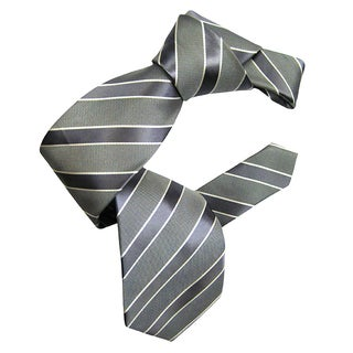 Dmitry Men's Grey Italian Silk Striped Tie